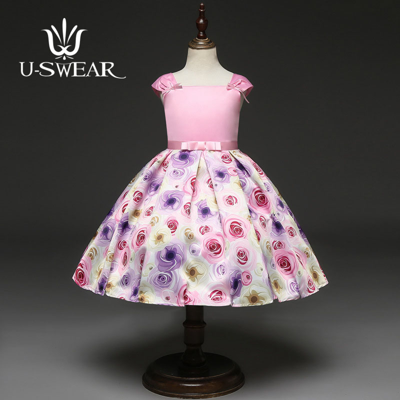 U-SWEAR 2019 New Arrival   Flower     Girl     Dresses   Short Sleeve Pink Sweet Ball Gown Tea-Length   Flower   Print   Girl   Pageant Vestidos