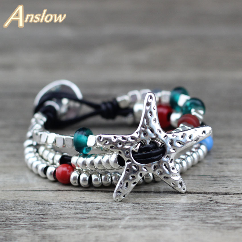 Anslow Brand New Hot Sale Promotion Discount Unique Silver Plated Multilayer Colorful Mother's Christmas Day Gift LOW0652LB(China)