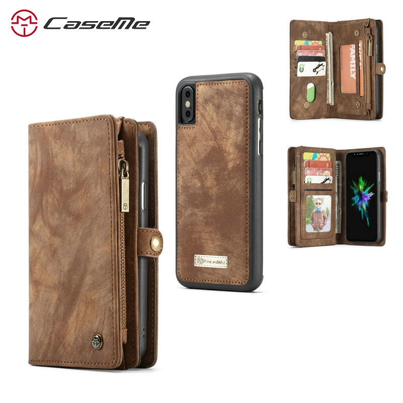2 in 1 Magnetic Pocket Detachable Flip Case for iPhone XR XS Max Case Wallet Leather Card Luxury Brand for iPhone 6 6S 7 8 Plus iPhone XR