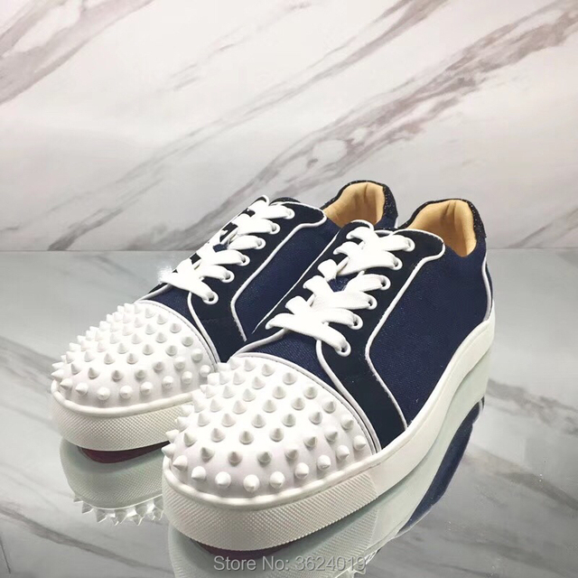 2c11961fe7c2 Low cut cl andgz blue denim Lace-up Rivets Front Shoes Fashion Party Red  bottom shoes For Man Sneakers leather casual Flat2018