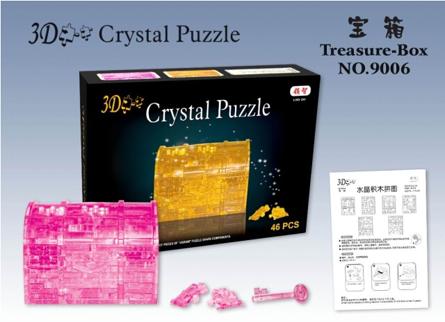 Candice guo! New arrival hot sale 3D crystal puzzle Treasure box with key model DIY funny game creative gift 1pc