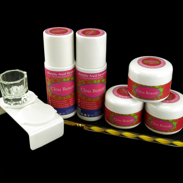 Acrylic Powder Liquid Brush Cleanser Sable Acrylic Brush Dappen Dish Nail Kit Set N015