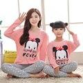 Natal conjuntos de pijama família mãe filha família sleepwear casuais olhar família caráter da menina e mãe de manga longa homewear