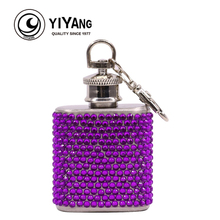Pocket Mini 1oz Diamond Hip Flask Stainless Steel With Keychain Alcohol Whiskey Liquor Wine Flagon Wedding Birthday Gift