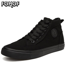 Hot Canvas Vulcanize Shoes Men's Lace Up High top Walking Sneakers Comfort Breathable Flat for Men Male Shoes Plimsolls Y52