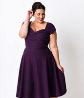 Plus Size 5xl Women Sexy Vintage Short Sleeve 50s A Line Pleated Dress Elegant Midi Party