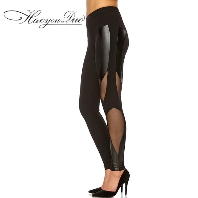 Haoyouduo 2015 Novo patchwork Oco leggings de malha de Cintura baixa Calças Lápis Calças basculador para as mulheres
