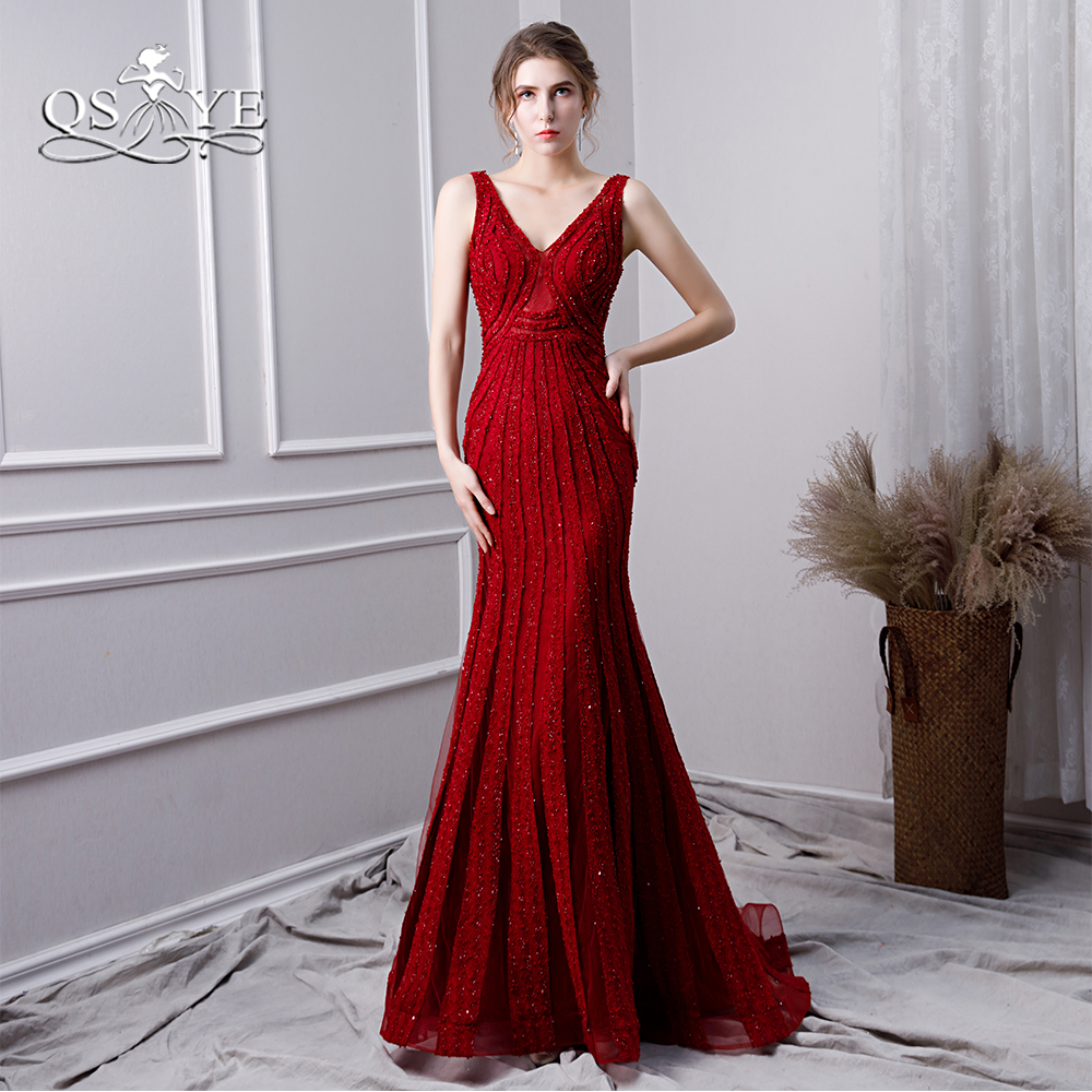 QSYYE 2019 Burgundy Mermaid Prom Dresses Sexy V Neck Beading Lace Open Back Women Evening Dress Elegant Party Gown