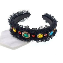 Women Retro Headband Crystal Pearl Rhinestone Hair Accessories Black Butterfly Boutique Bow Bands Jewelry