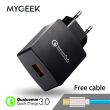 Фотография MyGeek 5v 2a Fast Charge USB Charger Qualcomm Quick Charge 3.0 30W Fast Mobile Phone Charger for Samsung Huawei LG
