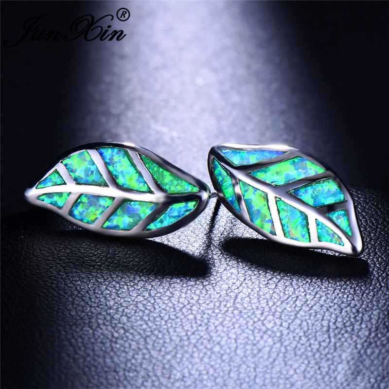 JUNXIN Charm Plant Tree Leaf Stud Earrings For Women Silver Color Green White Blue Fire Opal Earrings Wedding Gift