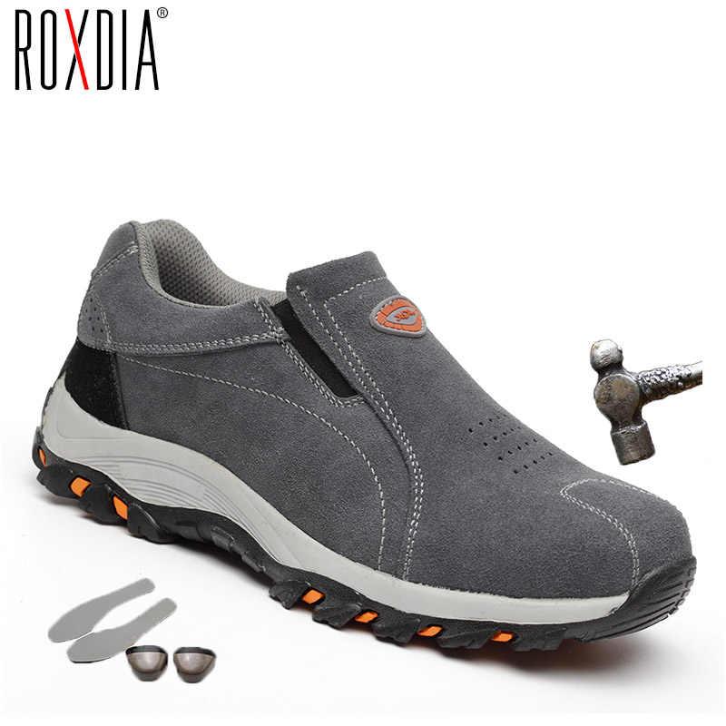 ROXDIAยี่ห้อPLUSขนาด 39-46 เหล็กtoecapผู้หญิงผู้ชายทำงานรองเท้าบูทความปลอดภัยของแท้หนังเหล็กMID Sole man Womanรองเท้าRXM103