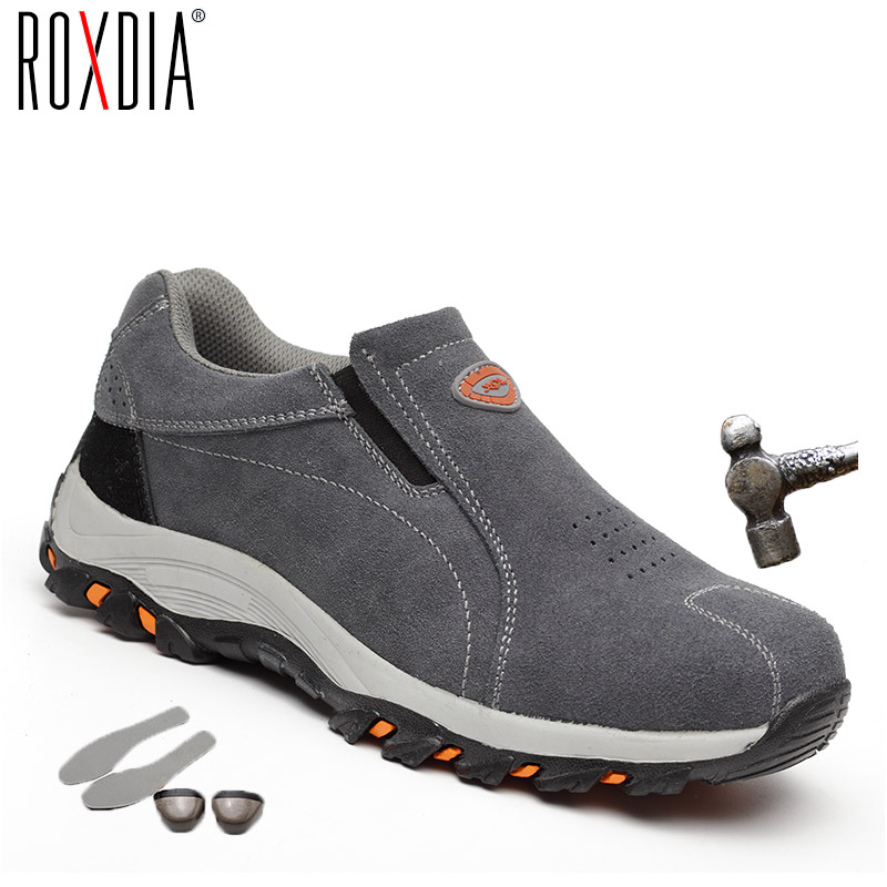 ROXDIA Brand Plus Size 39-46 Steel Toecap Women Men Work & Safety Boots Genuine Leather Steel Mid Sole Man Woman Shoes RXM103