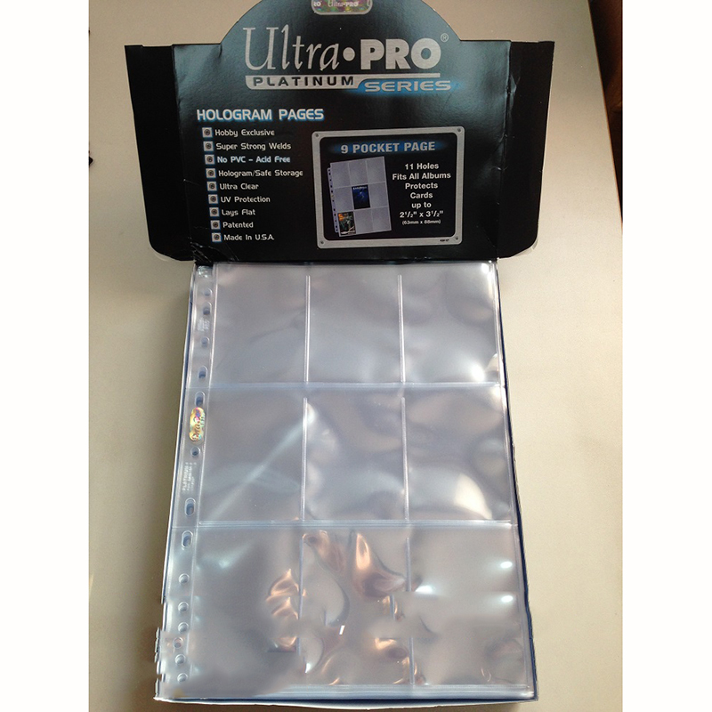 30pages/LOT Ultra Pro Cards Album pages Cards Collection book pages with 9 slots/page for Board game Trading cards pages