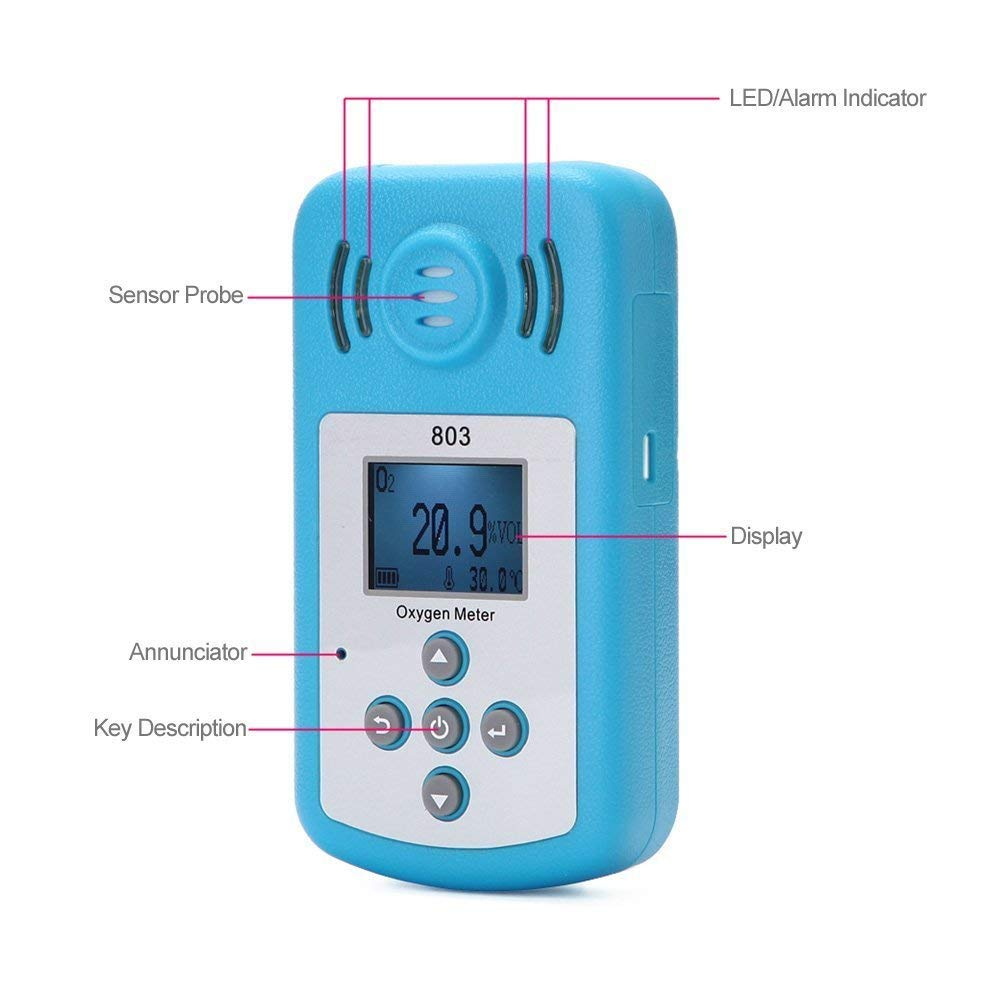12*6.5*2.5cm Oxygen Meter Portable Oxygen(O2) Concentration Detector with LCD Display and Sound-light Alarm Drop Shopping new oxygen meter portable oxygen o2 concentration detector with lcd display