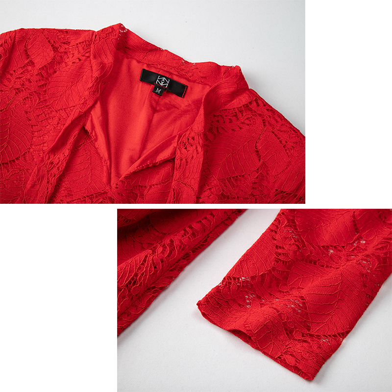 MUSENDA grande taille femmes élégant rouge dentelle arc tunique longue robe 2018 automne dames Vintage robes de fête vêtements Vestido de Festa - 5