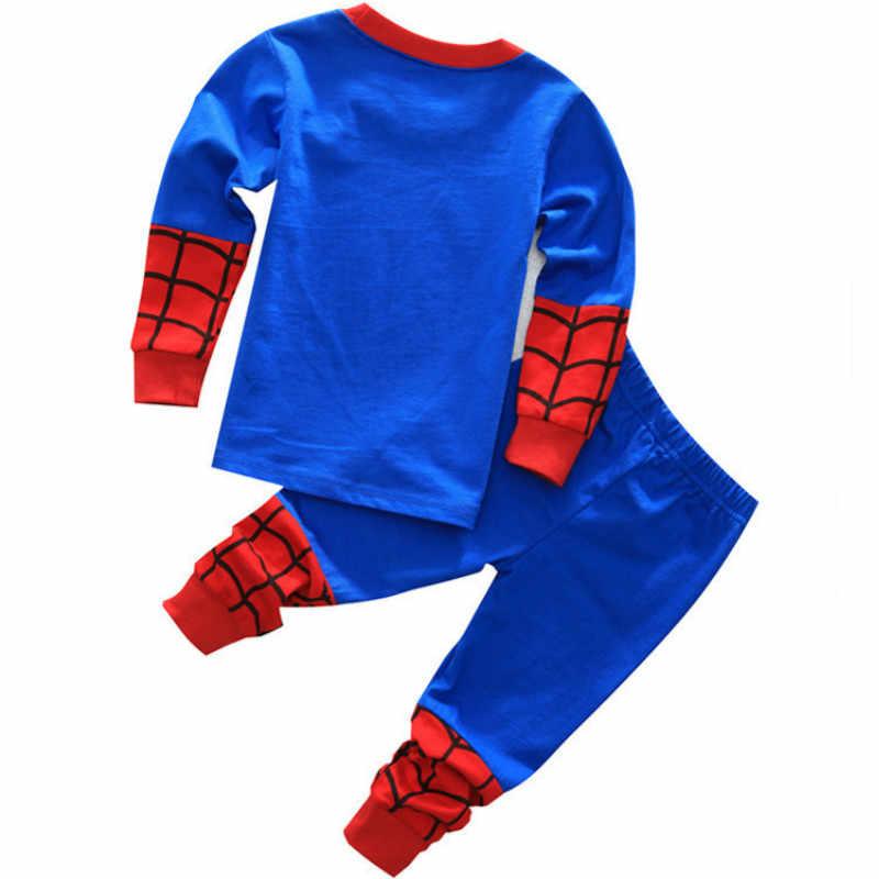 Nova meninos pijamas spiderman superman crianças infantil pijamas menina pijamas criança fille garcon conjunto de roupas menino