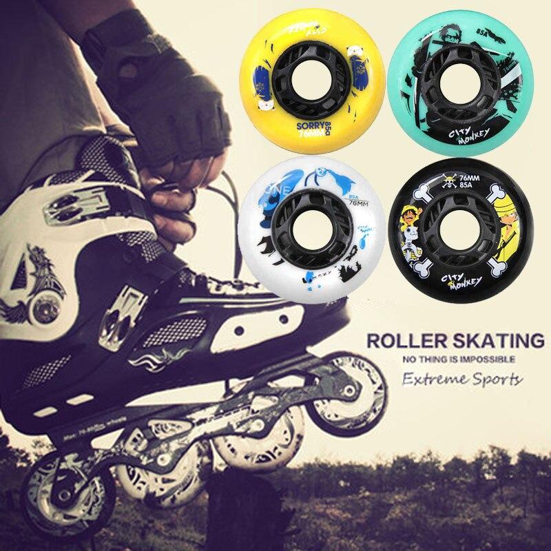 Prix pour 8 pcs/lot Cartoon Skate Roues 85A Slalom/Freinage Patin À Roulettes Chaussures Roues Rollerblade Patins Roues Haute Qualité Rouleau Roues