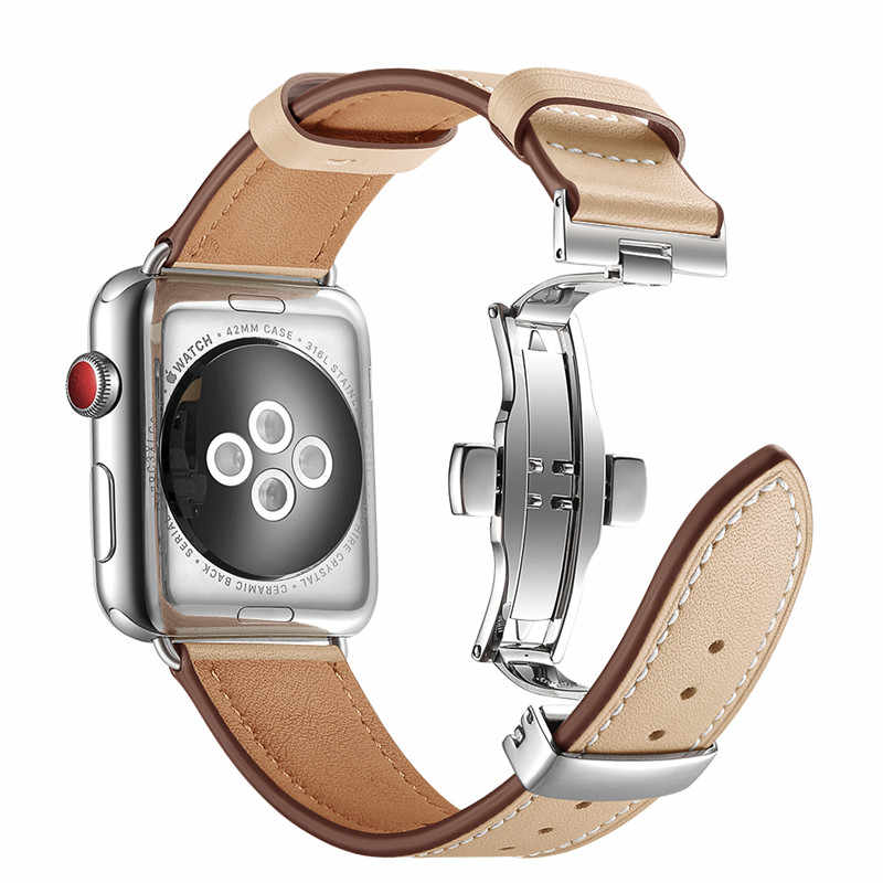 כסף פרפר אבזם ורוד עור רצועת עבור אפל שעון סדרת 1 2 3 להקות החלפת צמיד צמיד לולאת חגורה עבור iWatch