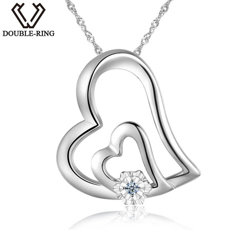 DOUBLE-R 0.01ct Real Diamond Pendants Women 925 Sterling Silver Heart Necklace Natural White Diamond Jewelry Valentine's Gift double r women necklace pendants 0 03ct diamond 925 sterling silver pendants with long chains diamond jewelry cap03755sa 1