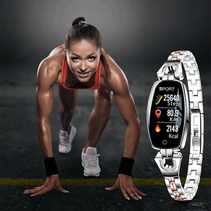 Bracelet intelligent pour femme H8 surveillance de fréquence cardiaque multi-fonction sport montre femme étanche bracelet en acier tungstène bracelet intelligent