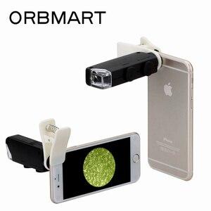 Orbmart 60x-100x universal clipe no bolso microscópio lente lupa com luz led para iphone samsung htc xiaomi telefone