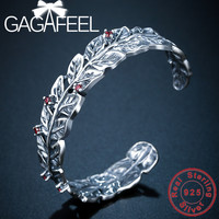 GAGAFEEL Leaves & Red Stone Bracelet 100% Real 925 Sterling Silver Bangles for Men Women High Quality
