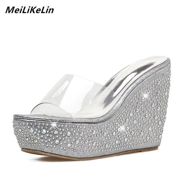 f13390fb5b8355 MeiLiKeLin Platform Transparent Wedges Slippers For Women Rhinestone High  Heels Mules Summer Shoes Sexy Women Sandals