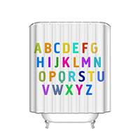 Custom ABC Alphabet Waterproof Polyester Fabric Shower Curtain And Hooks