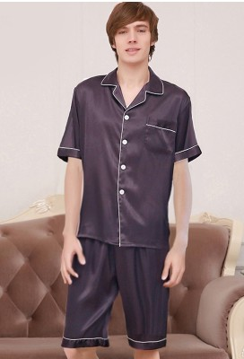 AiSilk 30 Mm Heavy Silk Pajamas 100% Men's Silk Summer Short Suit Silk Housewear
