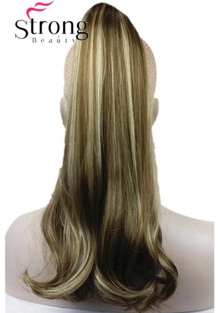 StrongBeauty marrón destacados señora Clip en cola de caballo Pony Tail extensión garra en pedazo del pelo recto muchas opciones del color
