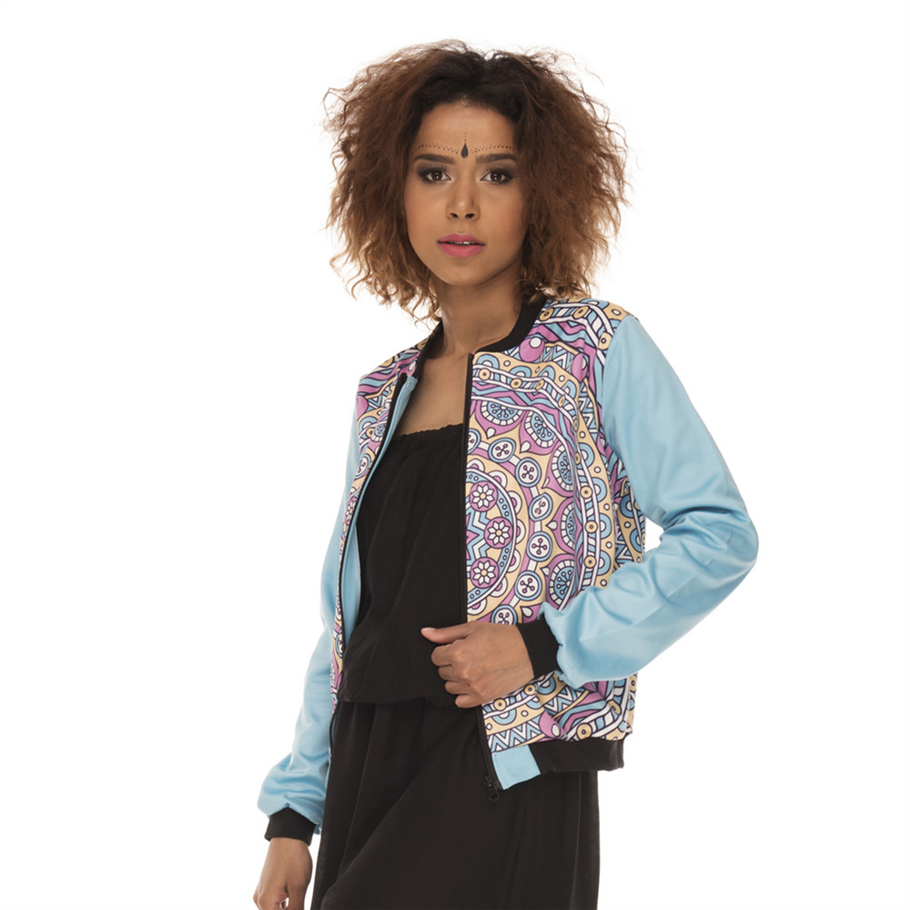 Fashion Cozy Women Bomber   Jacket   Mandala Simple Blue Printing Jaqueta Feminina Casual Slim   Basic     Jacket   for Woman