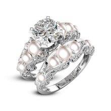 Ronde 8mm Cubic zirconia Women's Wedding Ring Set 925 Silver Jewelry Wedding Engagement