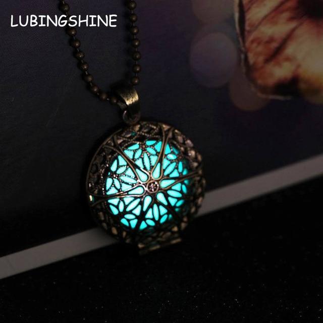 46c0160a0c Steampunk Antique Bronze Magic Round Locket Glow In The Dark Pendant  Necklace Glowing Luminous Vintage Hollow