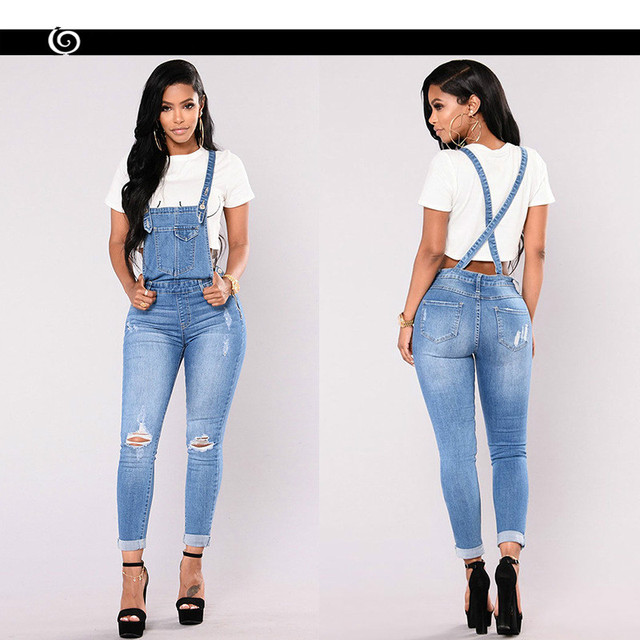 31b9d475ec1 QMGOOD Women Denim Overalls Ripped Stretch Dungarees High Waist Long Jeans  Pencil Pants Rompers Jumpsuit Blue Jeans Jumpsuits-in Jeans from Women s  Clothing ...