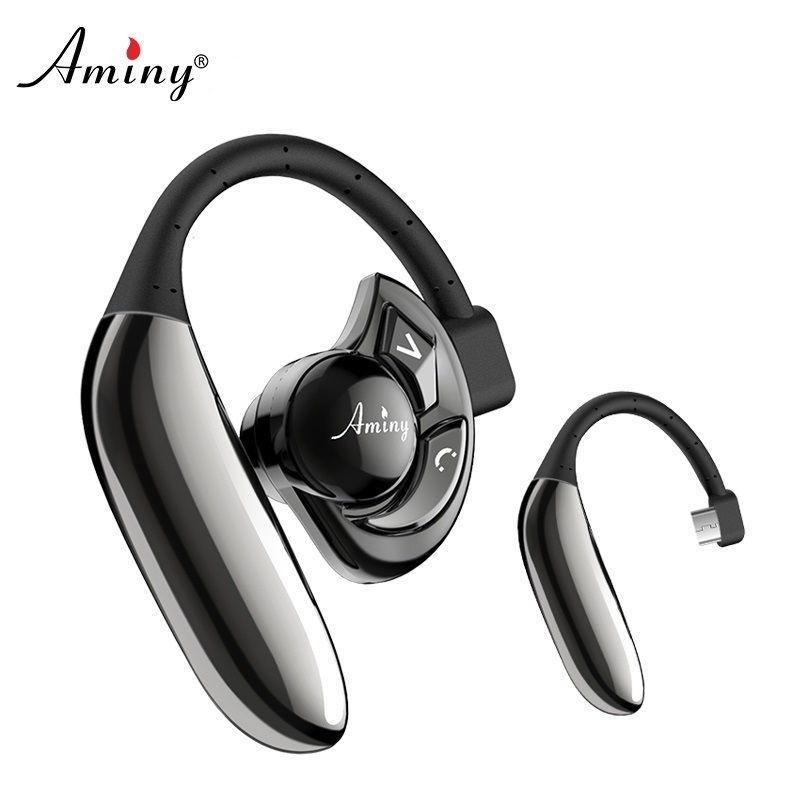 Aminy Black Headset UFO Bluetooth 4.2 Earpiece with Microphone Noise Canceling Wireless Handsfree for IPhone Android Devices