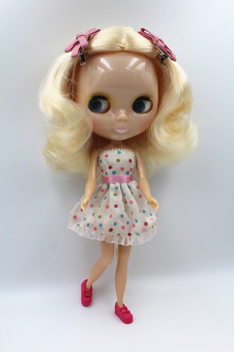 Blyth doll,Light blond curls, short hair, transparent skin, nude dolls,7 joint body,DIY dolls, normal body, can change hair.