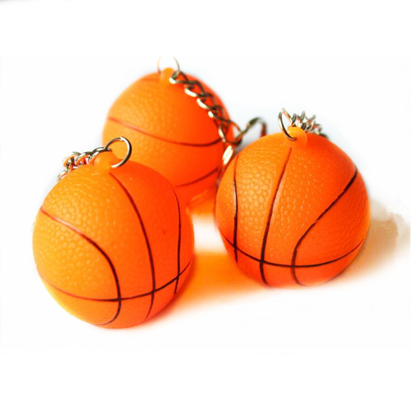 Sunflower.888 2017 Cute Flashing Basketball Pendant Key Rings Glowing Cartoon Keychains Children Gift Toys Birthday Glow Party Supplies