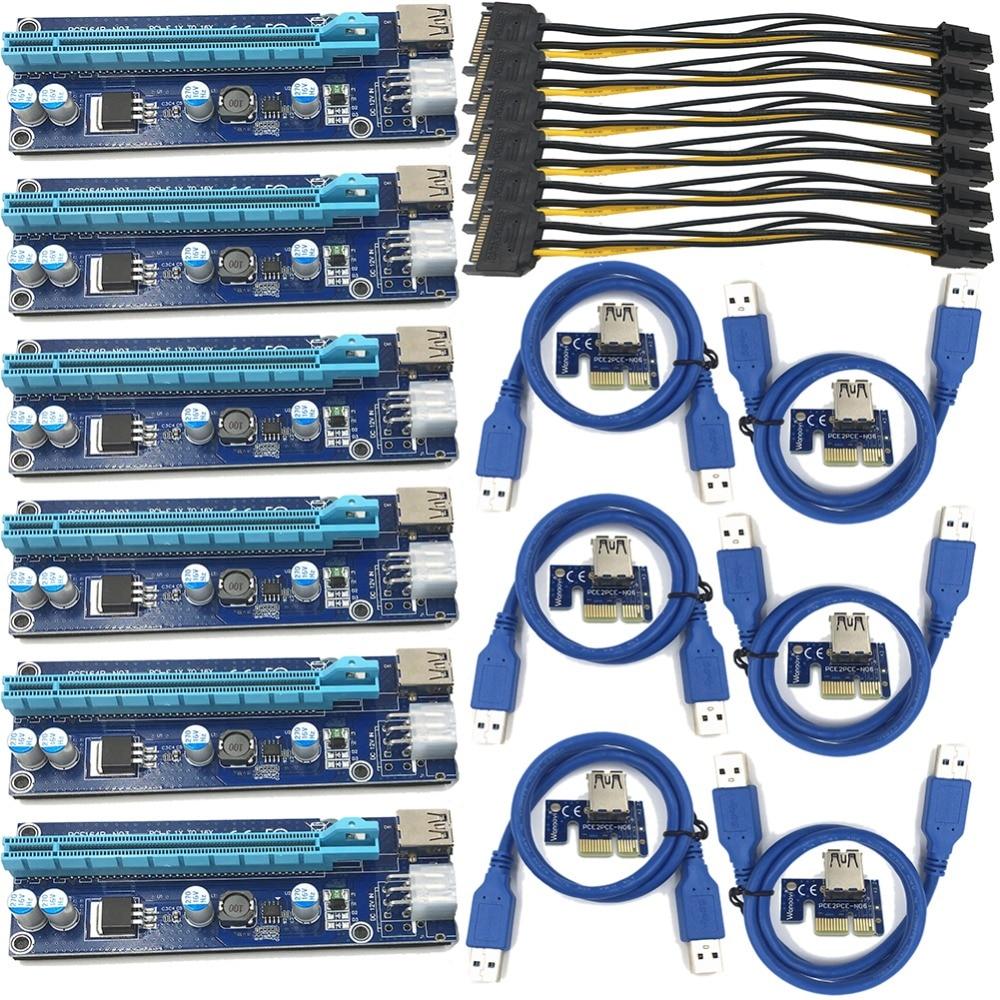 FUERAN 6pcs 006C USB 3.0 PCI-E Express 1X 4x 8x 16x Extender Riser Adapter Card SATA 15pin Male to 6pin Power Cable