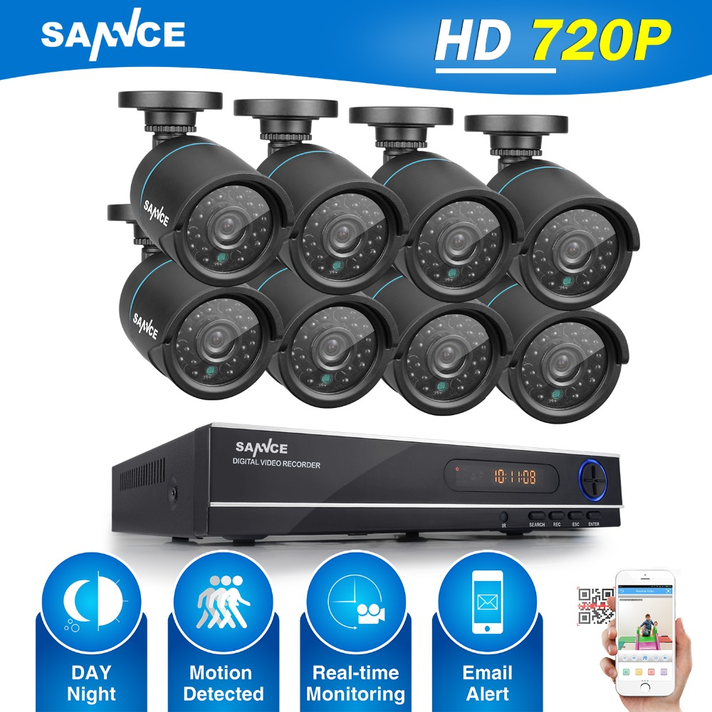 SANNCE HD 8CH 720P CCTV Security System 8PCS 1250TVL IR Outdoor AHD 720P Security Cameras 8 channel 720P Surveillance DVR Kit sannce ahd 4ch cctv system 720p hdmi dvr kit 1200tvl outdoor security waterproof night vision 4 cameras surveillance kits