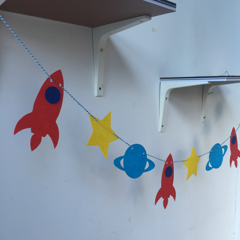 Freeshipping Space Rocket 3 Meter Felt Banner Flag Happy Birthday Party Decoration Bunting supply fabric in Banners Streamers Confetti from Home Garden