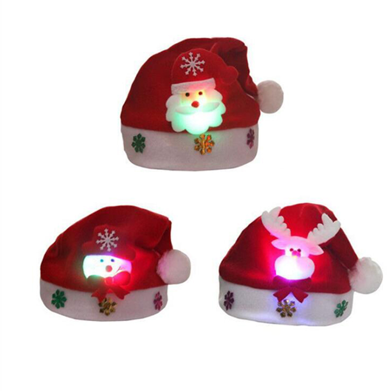 Christmas Hats Kids And Adult LEDLight UpLuminous Flash Santa Hats Christmas Party Decoration Christmas Decorations For Home (4)