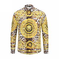 XIMIWUA Spring New Style Men Shirts Long Sleeve 3d Print Gold Lion On Front Covered Button