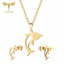 FGifter Cute Hollow Dolphin Pendant Necklace Earrings Sets for Girls Women Gold Stainless Steel Animal Jewelry Set Accessories