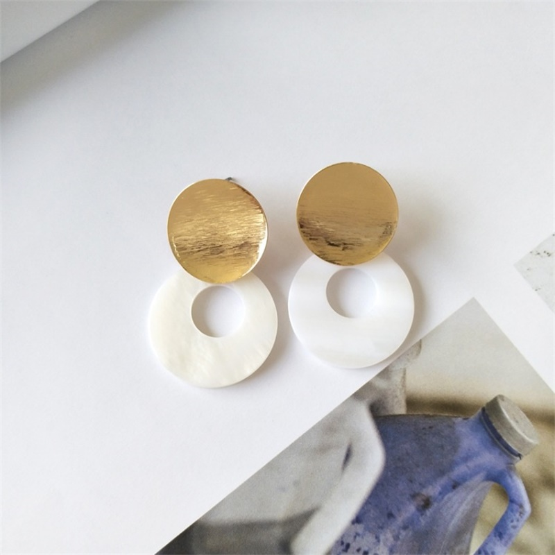 3* New Fashion Gold Geometric Metal Sequins Circle Statement Pendant Earrings Women's Clothing Accessories Jewelry Gift Brincos