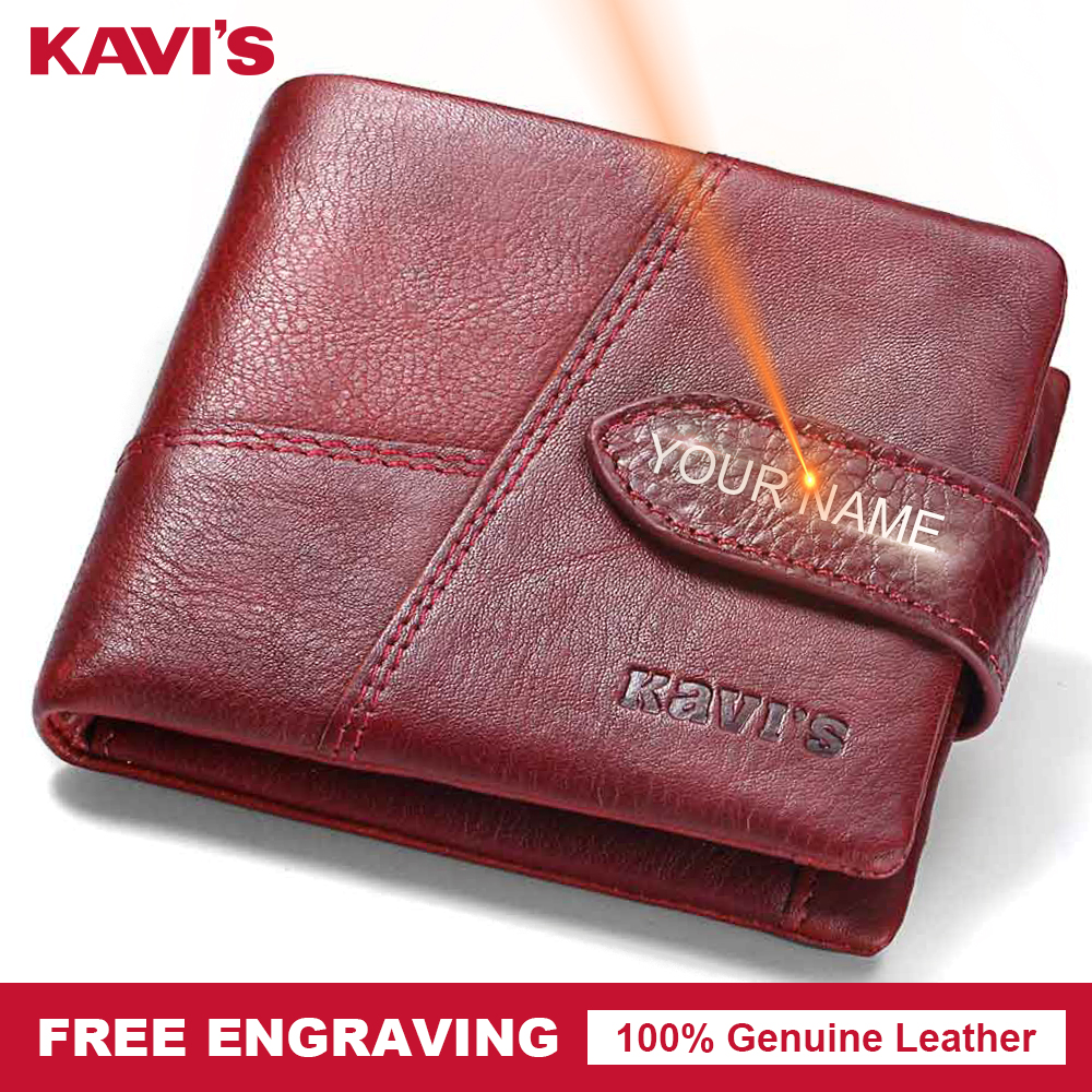 KAVIS Genuine Leather Wallet Female Small Women Coin Purse Walet Portomonee Mini Lady Money Bag and Card Holder Perse Hasp Rfid
