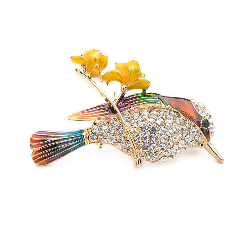 Wuli&Baby Rhinestone Bird Enamel Brooches For Women And Men Alloy Lovely Animal Party Weddings Banquet Brooches Gifts