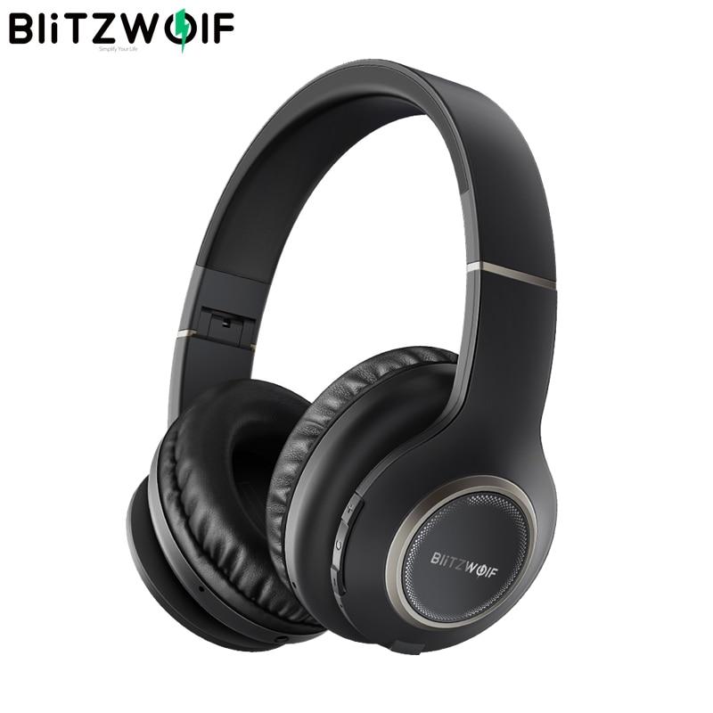 BlitzWolf BW-HP0 casque sans fil Bluetooth casque pliable sur l'oreille casque avec Microphone pour PC téléphone portable Mp3