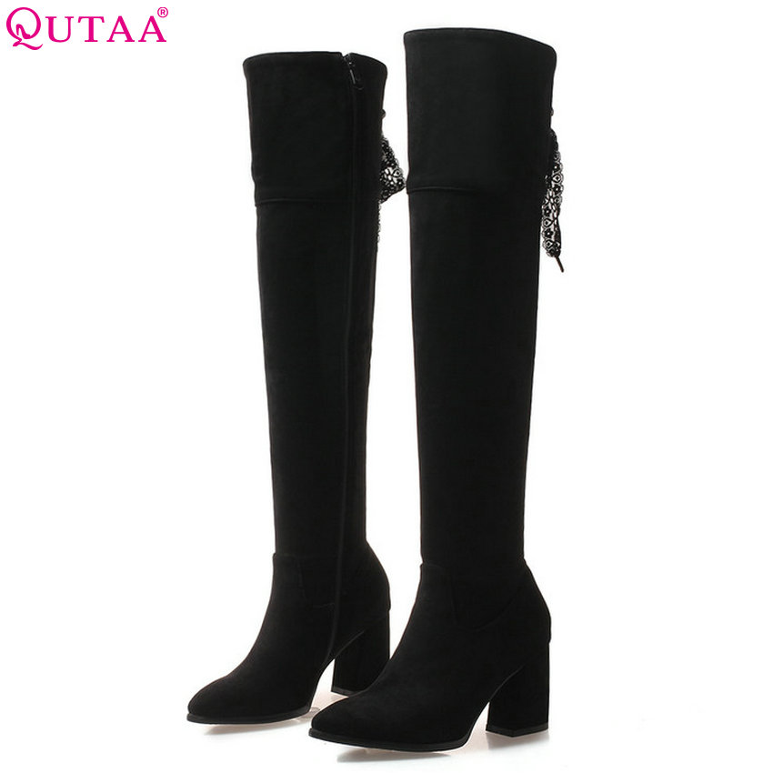 QUTAA 2019 Square High Heel Women Over The Knee High Heel Pointe Toe Winter Boots Women Shoes Women Boots Big Size 34-43 эспадрильи der spur кеды на обычной подошве