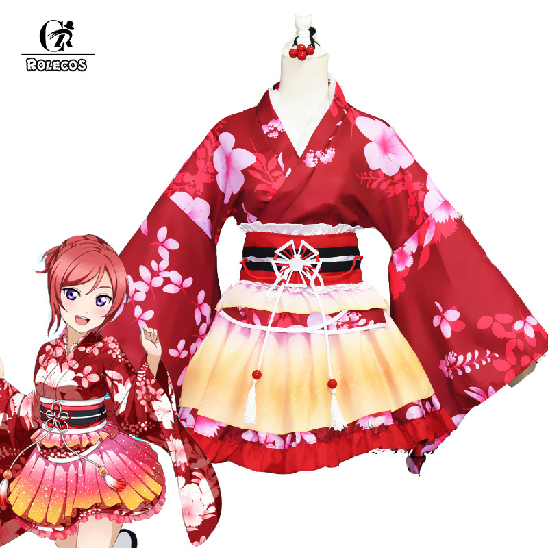 ROLECOS Anime Love Live Cosplay Costumes Kousaka Honoka Sonoda Umi Nishikino Maki Kimono Cosplay Costumes Love Live Yukata